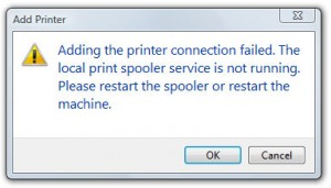 adding the printer connection failed. the local print spooler service is not running